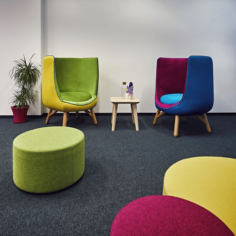Colorful armchairs in office rest area